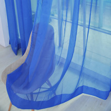 2 PCS Pure Color Tulle Door Window Curtain Drape Panel Sheer Scarf Valances