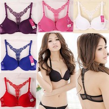 Sexy Fashion Womens Front Closure Lace Racer Back Racerback Push Up Bra Women Candy Colors Bra Sweet Girl's  Bra Push Up #183