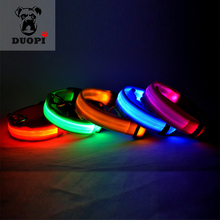 Duopi New Safety LED Dog Collar Flashing In Dark Nylon 6 Colors Lighting Safety LED Pet Collars For Pet Puppy Beauty & Hurtless(China)