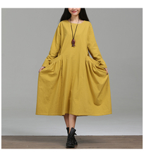 Autumn Fashion Big Pockets Wide Hem Bud Women Cotton Linen Dress, Spring Sweet Ladies Long Sleeve Yellow Loose Robe Dresses