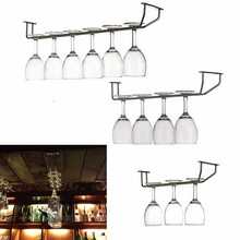 New Stainless Steel Wine Glass Rack Hoder Stemware Holder Chrome Plated Cup Kitchen Wall Bar Hanger Beer Decoration For Home(China)