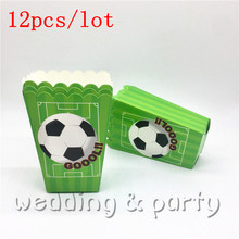 12Pcs/lot Football Theme Popcorn box Gift Box Children's Birthday Party Supplies Baby Kids Discount School Pack(China)
