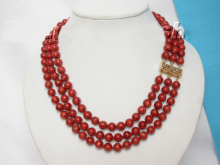 genuine 100% natural 3row red sponge coral necklace