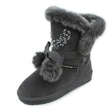 Newest Women's Boots Ball Mujer Botas Winter Fur Lined Snow Winter Boots Shoes women Waterproof Warm Boots With Rhinestone
