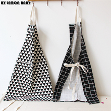 Simple Zakka Cotton Cloth Kitchen Cooking Apron Pinafore Thicken Black White Geometric pattern Ins Cleaning Baking Tools SBY8057