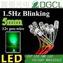 100PCS Green 1.5Hz single blinking Pre-wired Round 5mm led 20mm Cable DC12V Pre Wired led DIP LED for led light lamp