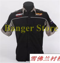 Wholesale F1 suits summer beauty work clothes aftermarket Chevrolet service team short sleeve shirt