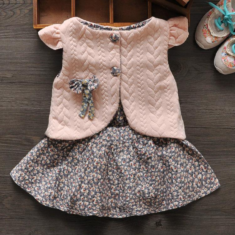New 2017 Baby Girl Clothes 2 Color Spring Autumn Female Baby Floral Vest Dress Shawl + Two Piece Girls One Generation<br><br>Aliexpress