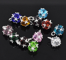 New Fashion 12PCs Mixed Silver Color Birthstone Pendants For Making Women Jewelry 14x10mm(China)