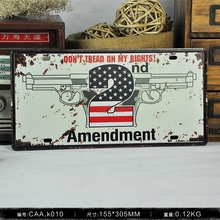 Amenment 2 nd Vintage License Plate Retro Iron Painting Poster Wall Sticker tin sign Bar Cafe Wall Decor 15X30 CM(China)