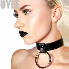 Buy UYEE Neck Collar Leather Ring Sex Choker Couples Bondage Belt Adult Role Play Sex Products Neck Belts Adjustable LN-006