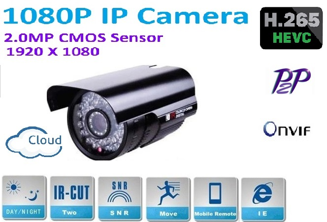 H.265 2.4MP 1920*1080P MINI Waterproof Outdoor Network IP camera with IR CUT filter,Onvif ,P2P,Easy Plug and Play,1080p Lens<br>