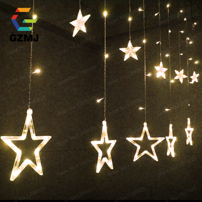 2MX3M Stars Curtain Icicle String Lights LED Fairy Lights Christmas lamps Icicle Lights Xmas Wedding Party Decoration EU Plug(China (Mainland))