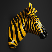 Home Decoration Accessories Furnishing Animal Spot Horse Pendant Wall Above The Mural Decorations Zebra head statue sculpture(China)