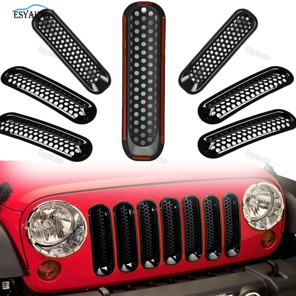 Black Front Mesh Insert Grille Kit Rust-resistant Grill Off Road Car Auto Parts for Jeep Wrangler JK for Sahara Accessories<br>