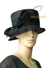 BLACK Sinamay  church dress Hat w/ostrich spine for wedding,kentucky derby,party,races.