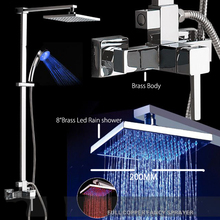 Superfaucet Bathroom Fashion Chrome Shower Sets Faucet LED Shower Set with Thermostatic Shower Faucet HG-1266