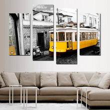 Retro Style 4 Piece Yellow Bus Canvas Print Canvas Painting Home Decor Street Bus Wall Art Picture for Living Room No Frame