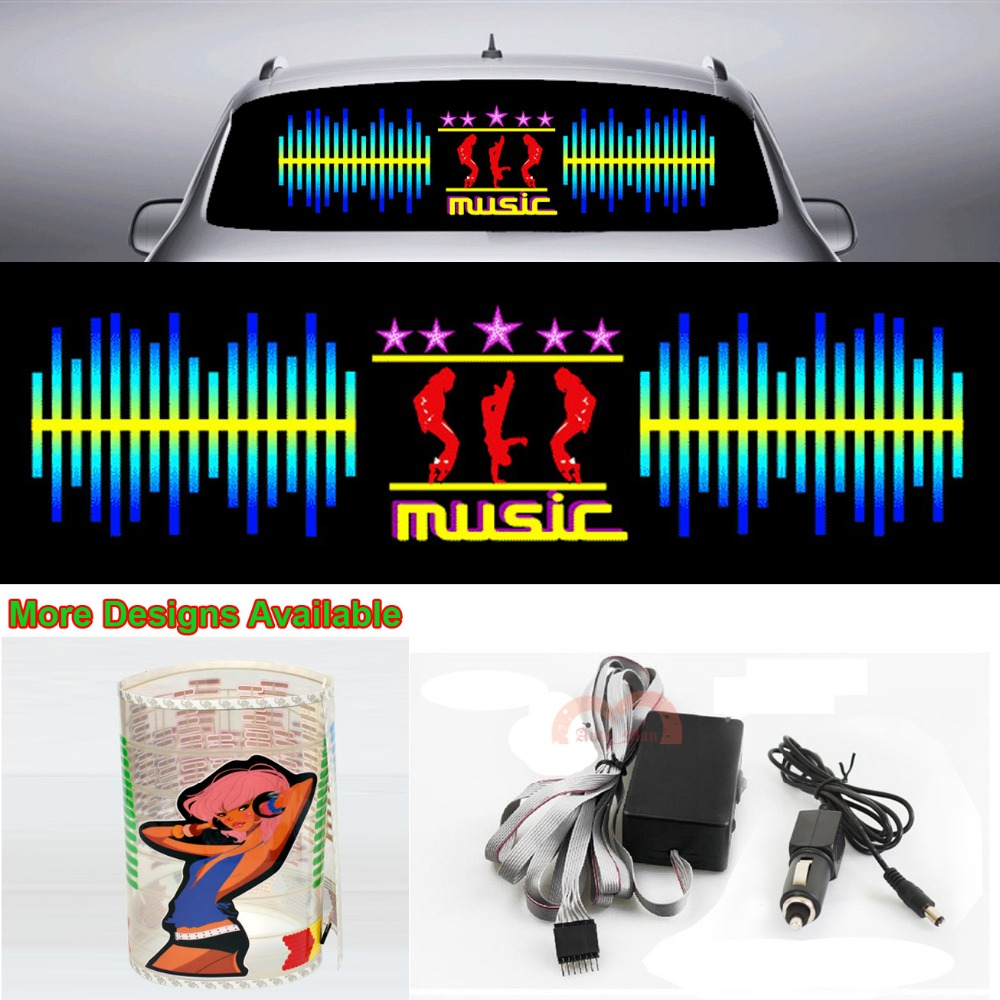 Dynamic Music Car Sticker Sound Rhythm Flash Light Sound Activated Equalizer 90cm*25cm 35.4in*9.84in<br>