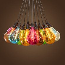 Colorful glass pendant lights creative design bulb pendant lamps for dining room living room bar store