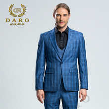 DARO 2018 New Men Suit 3 Pieces Fashion Plaid Suit Slim Fit blue grey Wedding Dress Suits Blazer Pant and Vest DRV8186(China)