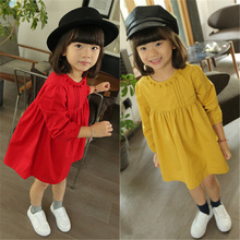 2017 New Children's Dress Girls Cute Princess 2 To 7 Years Old Dresses Spring and Autumn Solid Dress for Girls Fashion Clothes