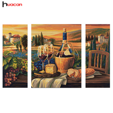 HUACAN DIY 5D Fruit Diamond Embroidery Dinning Room Decorative Diamond Mosaic Cross Stitch Relative Gifts 3pcs European Arts