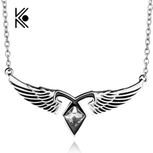 City Of Bones Angels Force Movie Necklace Mortal Instruments Rhinestone Wing Pendant Necklace Wholesale Movie Jewelry(China)