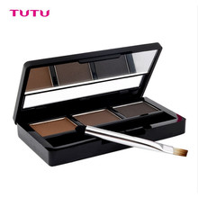 TUTU Eye Brow Shadow Brand Makeup Kit Set Waterproof 3 Color Chocolate Eyebrow Powder Palette Eyebrow Enhancer