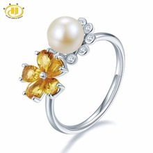 Hutang Natural Gemstone Citrine & Fresh Water Pearl Solid 925 Sterling Silver Engagement Flower Ring Fine Jewelry For Women(China)