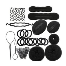 Hair Styling Accessories Kit Set for DIY Magic Clip Maker Tools Pads Foam Sponge Bun Donut Hairpin 2017 New Black hair styling(China)