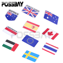 New Hot Car Auto Truck Bikes Metal National Flag Emblem Grille Badge Decal Sticker Car Styling Australian/UK/Spain/Canada Flag