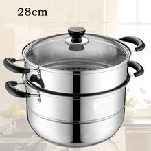 FREE SHIPPING STEAMER POT STAINLESS STEEL COOKING POT 2 LAYER kitchenware cooker pots(China)
