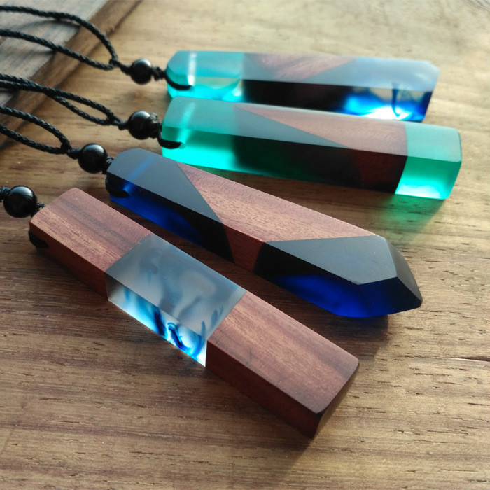Fashion Women Men Necklace Handmade Vintage Resin Wood Statement Necklaces & Pendants Long Rope Wooden Necklace Jewelry Gifts(China (Mainland))