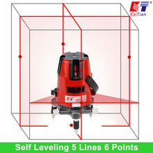 KaiTian Laser Level 5 Lines 6 Points with Tilt Slash Function 360 Rotary Outdoor EU 635nM Self Leveling Cross Lazer Level Tool