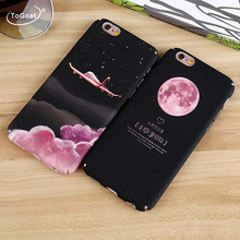 ToGoat Fashion Space Moons Cartoon Case For iphone 7 Case Cute Candy Airplane Frosted Hard Cover Phone Cases For iphone7 6 6S Pl