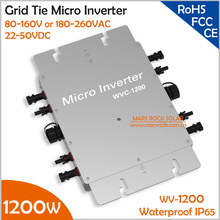 IP65 Waterproof 1200W Micro Inverter with 22-50V DC to AC 80-160V or 180-260V Grid Tie Solar Inverter for 4pcs 300W 36V PV Panel(China)