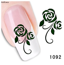 AddFavor 4PCS Nail Sticker Foil Paste Decals Flower Design Fingernail Care Beauty Gel Nail Manicure Makeup Tools Nail Art
