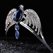 Fashion Vintage Silver Ravenclaw diadem Blue Crystal Ravenclaw College Lost Crown Prom Wedding Hair Jewelry Jarry Potter Horcrux(China)