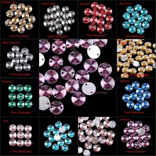 50pcs 10mm Round Resin Sew On Rhinestones Sewing On Crystals Beads Two Holes Sew-On Crystal Stones Silver Base DIY Garment Use