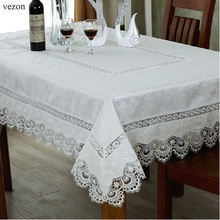"vezon Hot Sale 180*270cm Elegant Polyester Fabric Lace Tablecloths 72*108"" European Luxury Wedding Table Linen Cloth Covers(China)"