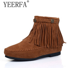 YIERFA Woman shoes boots fashion Snow Botas Tassel High-quality Ankle-high ladies shoes Slip-resistant 2017 now hot size 34-39(China)