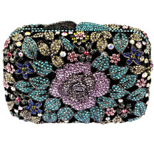 High-End Womens Purple Box Crystal Evening Clutch Purse Bag Floral Sequin Rhinestone Purse with Chain Free Shipping(China)