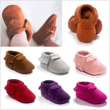 2016 Baby First Walkers Boys Shoes Toddler Soft Sport Shoe Scrub Tassel Bebe Moccasins Solid Fringe Socks Baby Sneakers(China)