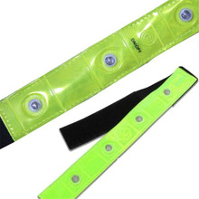 Safety Outdoor Reflective Yellow Armband Red LED Lights Running Cycling Jogging Walking Arm Warmers(China)