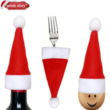 12Pcs Christmas Decorations Silverware Holders Pockets Dinner Table Home Decor Xmas Mini Hats Bottle Party Birthday Decoration