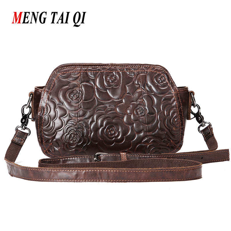 New Arrival Women Bag Genuine Leather Vintage Floral Women Messenger Bags 2017 Hot Sale High Quality Crossbody Luxury Brands Bag<br>