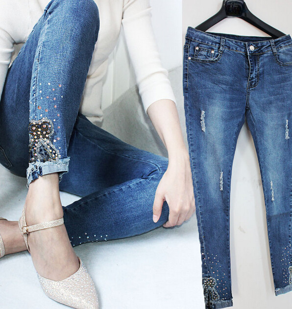 2017 NEW Fashion women jeans brand Pencil Pants high quality jeans for women pencil jeans with SequinОдежда и ак�е��уары<br><br><br>Aliexpress