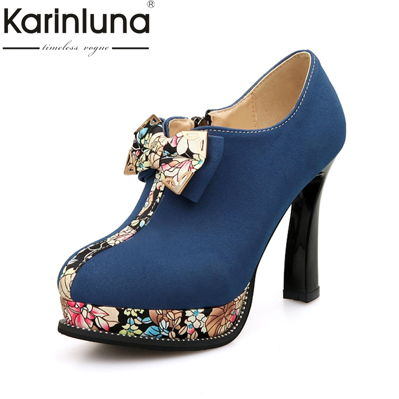 KarinLuna Large Size 32-43 strange style High Heels Women Shoes Woman bow tie Platform Office Lady Date Wedding Party Pumps<br>