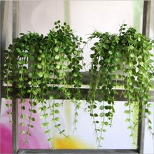 1PCS Mini Flowers Green Artificial Plant Eucalyptus Plastic Money Leaves Grass Bush Home Hanging Vine Decoration Fake Wreath